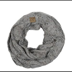 Confetti knit cable infinity scarf natural gray